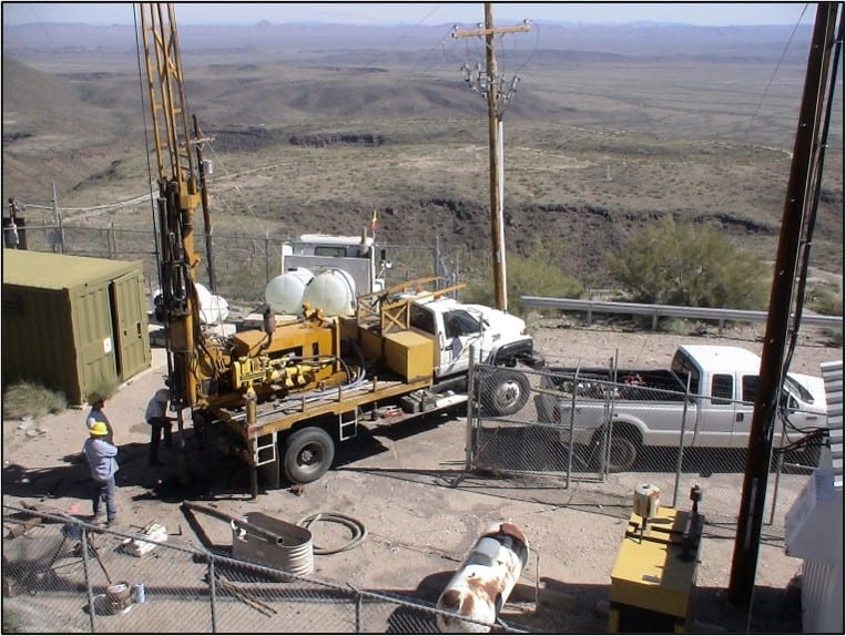 Drilling on mountain top