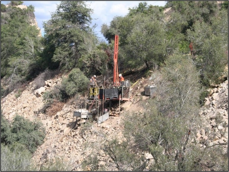 Drilling on talus slope